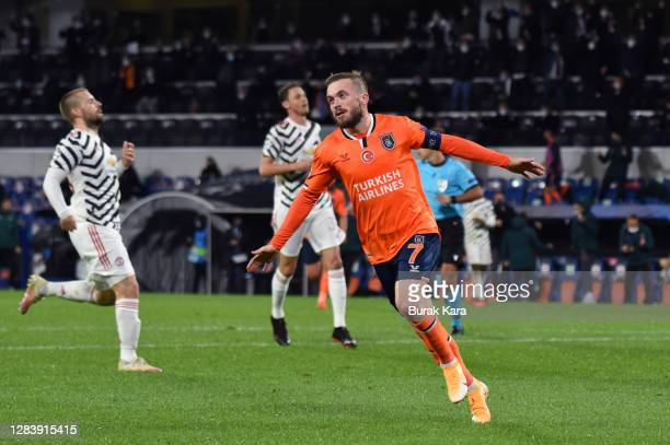 Edin Visca of Istanbul Basaksehir celebrates after scoring his team's second goal during the UEFA Champions League Group H stage match between...