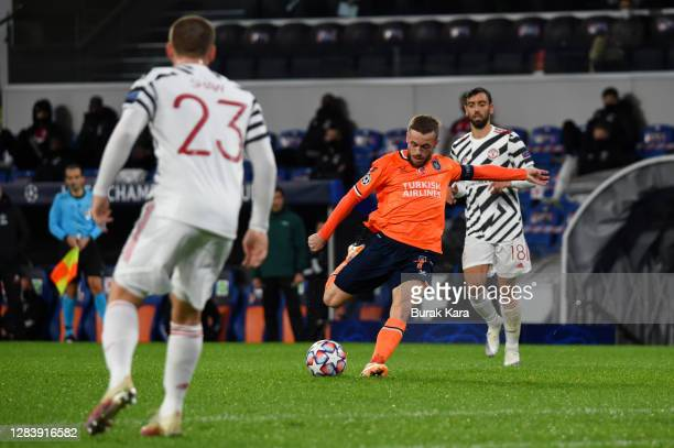 Edin Visca of Istanbul Basaksehir scores his team's second goal during the UEFA Champions League Group H stage match between Istanbul Basaksehir and...