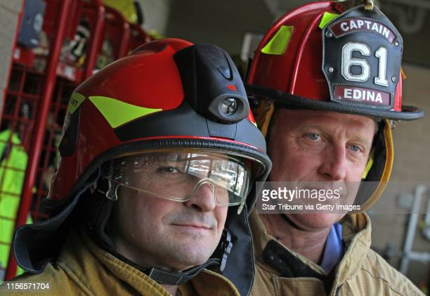 Edina Fire Dept Lt Todd Porthan wore the new Euro style fire helmet with built in light and visors and Edina Fire Capt Joel Forseth wore the older...