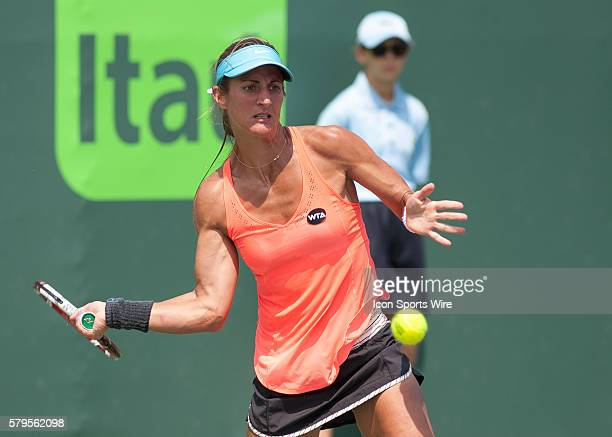 Edina GallovitsHall returns to Grace Min during qualifiers at the 2015 Miami Open in Key Biscayne Florida