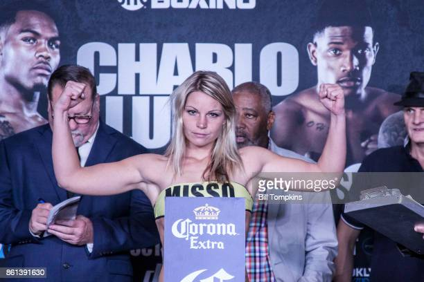 Edina Kiss weighs in during the Erislandy Lara vs Terrel Gausha Official Weigh In at the Barclays Center on October 13 2017 in the Brooklyn borough...