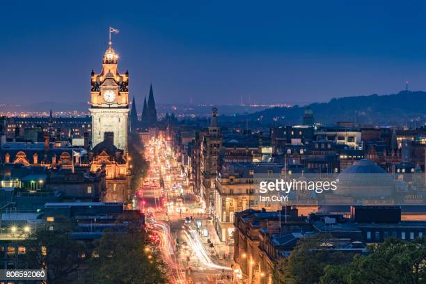 edinburgh after sunset - new town edinburgh stock photos and pictures