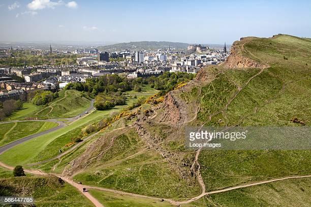 Edinburgh and Salisbury Crags from Arthur's Seat