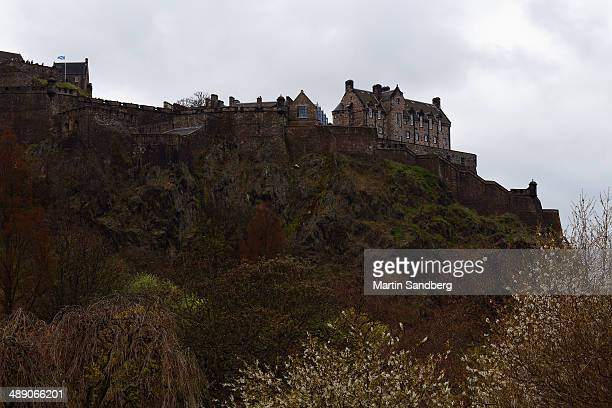 Edinburgh castle a chilly day in April. Sitting there it's high perch above the city on an old volcanic rock.