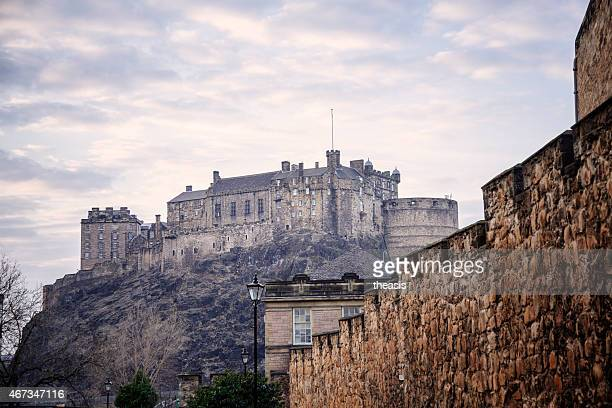 edinburgh castle and city wall from the south - theasis stock pictures, royalty-free photos & images