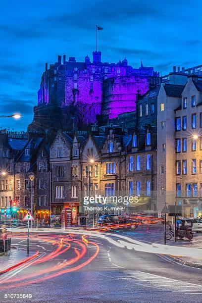 Edinburgh Castle and Grassmarket during blue hour.