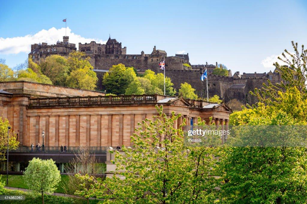 Edinburgh Castle and Scottish National Gallery : Stock Photo