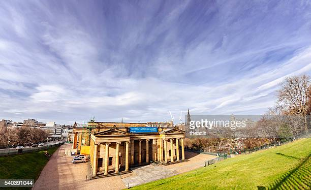 edinburgh castle and scottish national gallery - theasis stock pictures, royalty-free photos & images