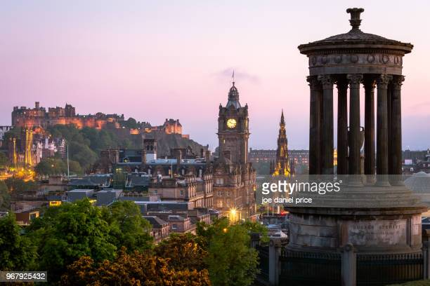 Edinburgh Castle, Balmoral Hotel Clock Tower, Scott Memorial, Dugald Stewart Memorial, Edinburgh, Scotland
