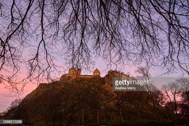 Edinburgh Castle, Castle Rock view from St Cuthbert's Churchyard at dusk