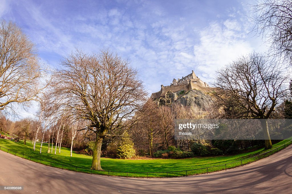 Edinburgh Castle from Princes Street Gardens : Stock Photo