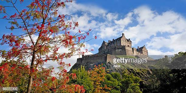 edinburgh castle from princes street gardens - エディンバラ城 ストックフォトと画像
