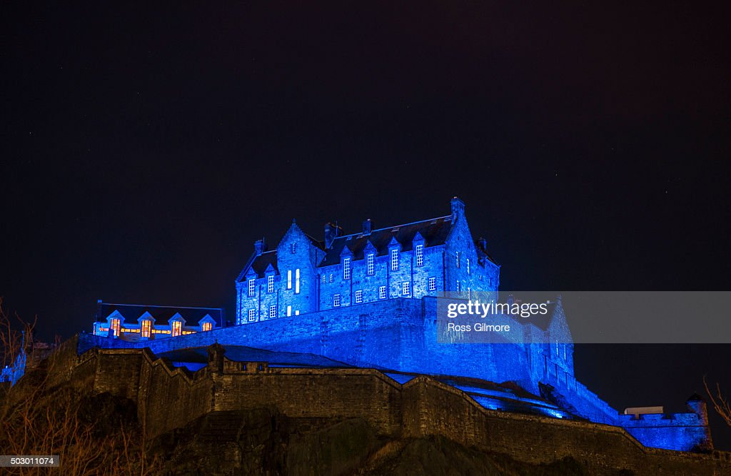 Edinburgh Lights Up Blue For NYE Hogmanay With Unicef To Support Their New Year's Resolutions For Children Campaign : News Photo