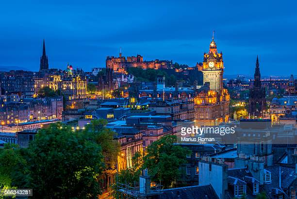 edinburgh castle with cityscape from calton hill. - edinburgh scotland stock pictures, royalty-free photos & images