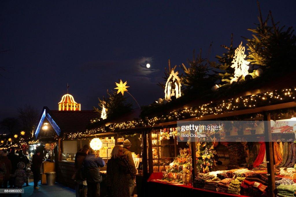 edinburgh christmas market stock photo