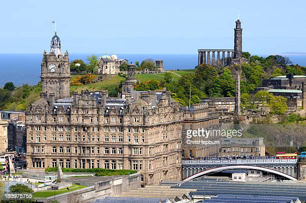 edinburgh cityscape - balmoral hotel stock photos and pictures