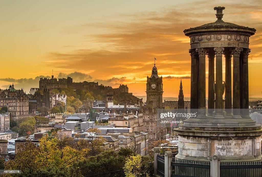 Edinburgh cityscape sunset : Stock Photo