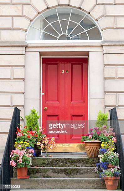 edinburgh door entrance - steps stock photos and pictures