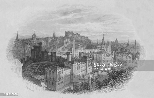 Edinburgh ' earlymid 19th century View of the city of Edinburgh in Scotland with Princes Street on the right and the Castle in the distance Artist...