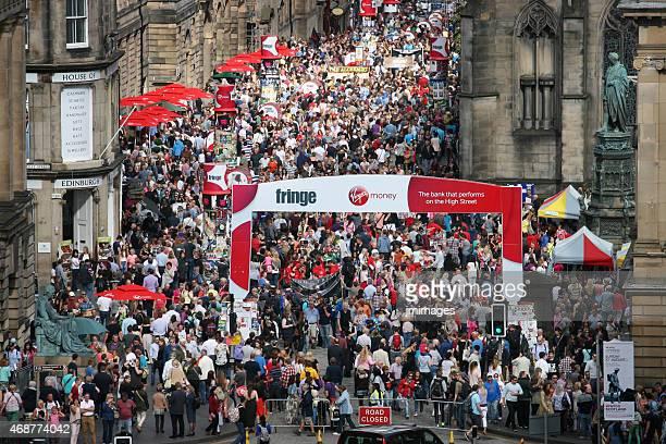 edinburgh festival crowds - edinburgh fringe stock photos and pictures