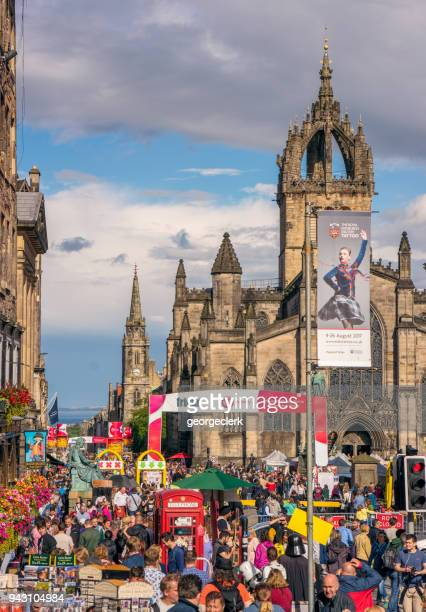 edinburgh festival - royal mile in august - edinburgh fringe stock photos and pictures
