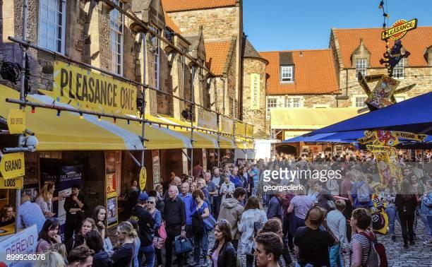 edinburgh festival visitors at the pleasance - edinburgh fringe stock photos and pictures