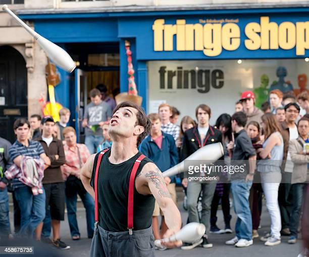 edinburgh fringe festival street performer - edinburgh fringe stock photos and pictures