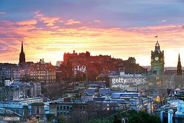 Edinburgh from 'Arthur's seat' at sunset