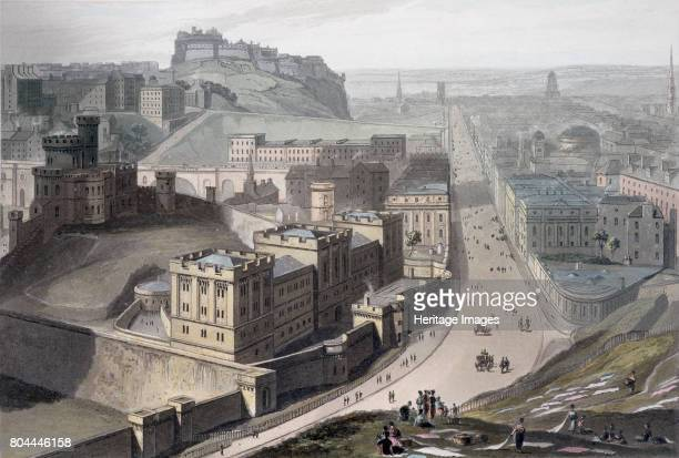 Edinburgh from Calton Hill 1829 Looking along Princes Street with Edinburgh Castle in the distance From A Voyage Around Great Britain Undertaken...