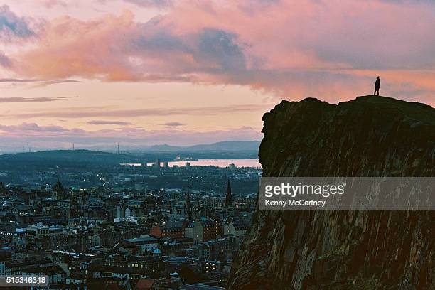 edinburgh - from salisbury crags - film - new town edinburgh stock photos and pictures