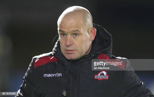 Edinburgh Head coach Richard Cockerill during the Guinness Pro14 match between Edinburgh Rugby and Southern Kings at Myreside on January 5 2018 in...