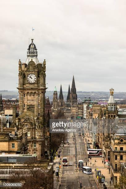 Edinburgh' Princes Street quiet during covid-19 pandemic, Edinburgh, Scotland on April 3, 2020.