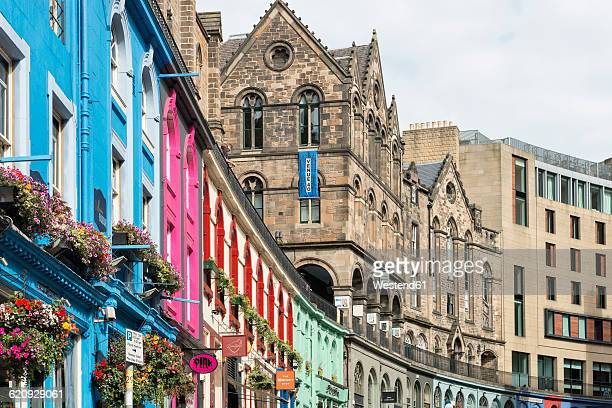 UK, Edinburgh, row of coloured houses at West Bow