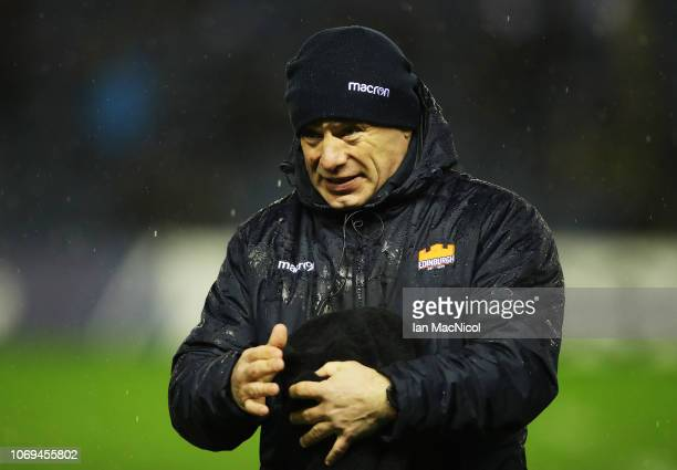 Edinburgh Rugby Head Coach Richard Cockerill looks on during the Champions Cup match between Edinburgh Rugby and Newcastle Falcons at Murrayfield...