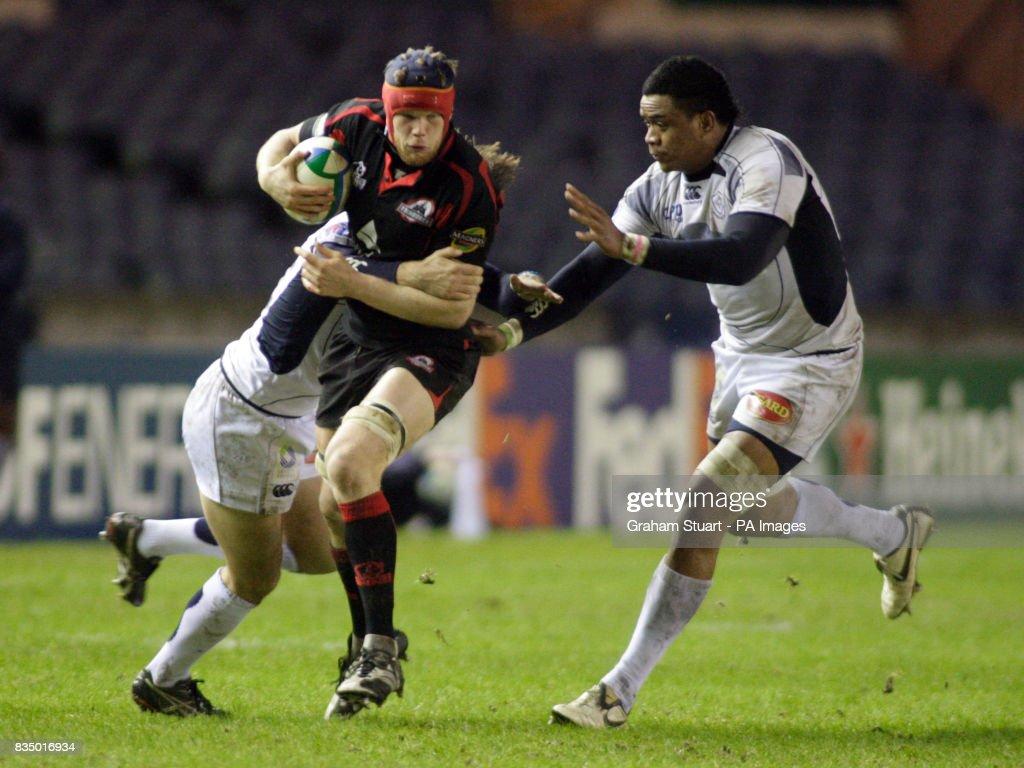 Edinburgh Rugbys Scott Newlands Breaks Through A Tackle From Castres Joe Tekori R