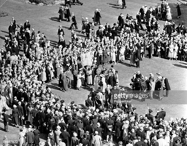1953 Edinburgh Scotland Queen Elizabeth II is pictured attending the Royal Garden Party at the Palace of Holyroodhouse