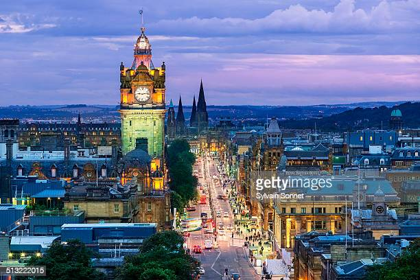edinburgh skyline from calton hill at dusk - clock tower stock pictures, royalty-free photos & images