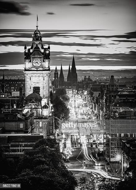 Edinburgh skyline in black and white at dusk