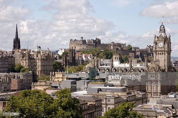 edinburgh skyline - balmoral hotel stock photos and pictures