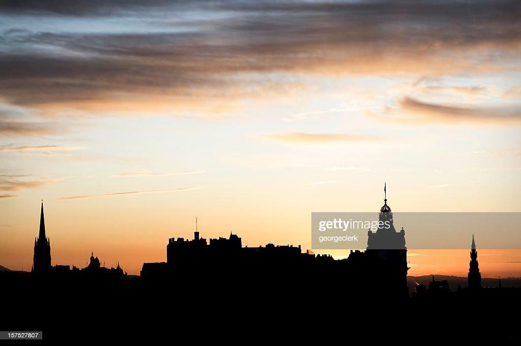 Edinburgh Skyline Silhouette : Stock Photo