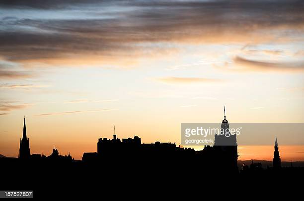 edinburgh skyline silhouette - new town edinburgh stock photos and pictures