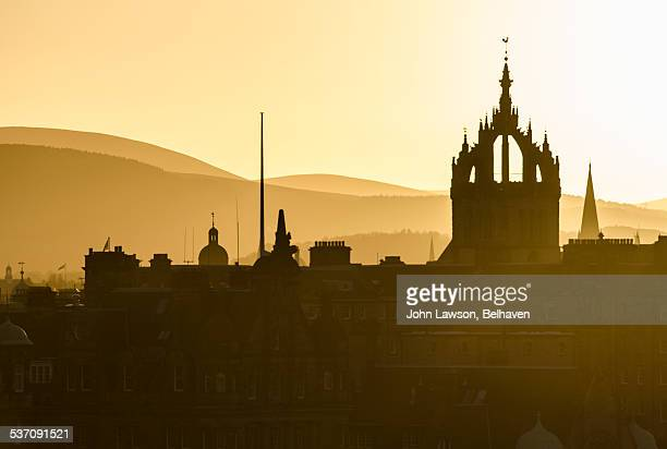 edinburgh skyline silhouette - st. giles cathedral stock pictures, royalty-free photos & images