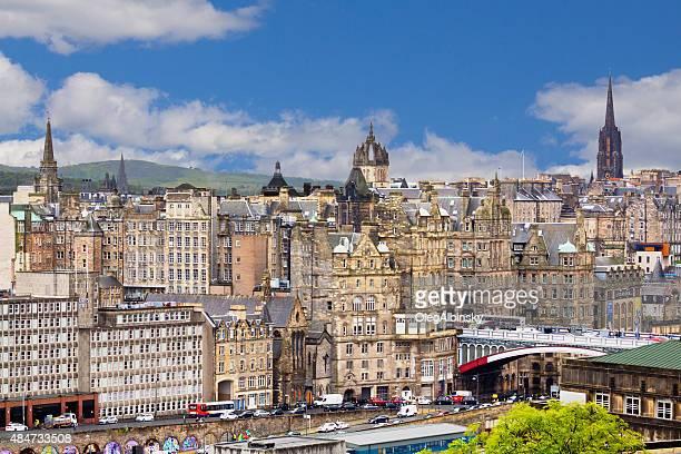 Edinburgh Skyline with North Bridge and Historic Buildings, Scotland, UK.