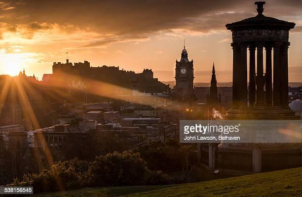 Edinburgh sunset with flare effect