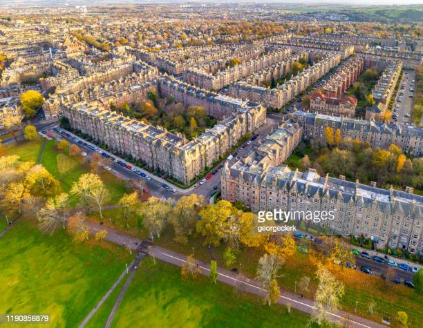 edinburgh tenement blocks from the air - drone point of view stock pictures, royalty-free photos & images