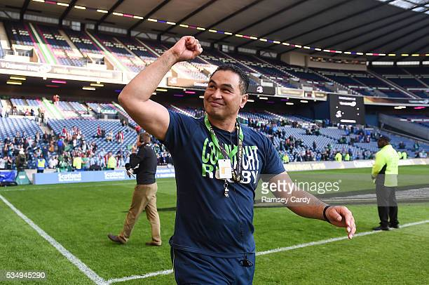 Edinburgh United Kingdom 28 May 2016 Connacht head coach Pat Lam celebrates following his side's victory in the Guinness PRO12 Final match between...