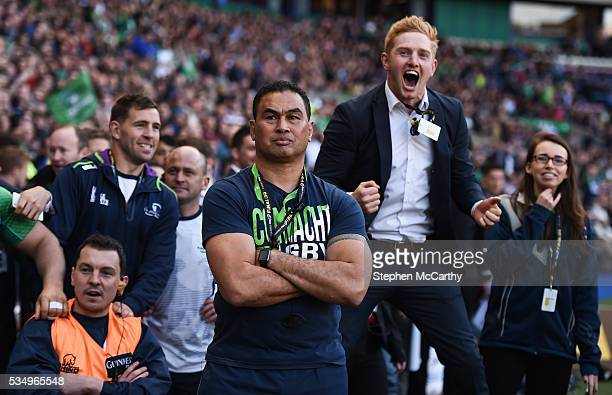 Edinburgh United Kingdom 28 May 2016 Connacht head coach Pat Lam watches the closing stages of the game as Darragh Leader celebrates during the...