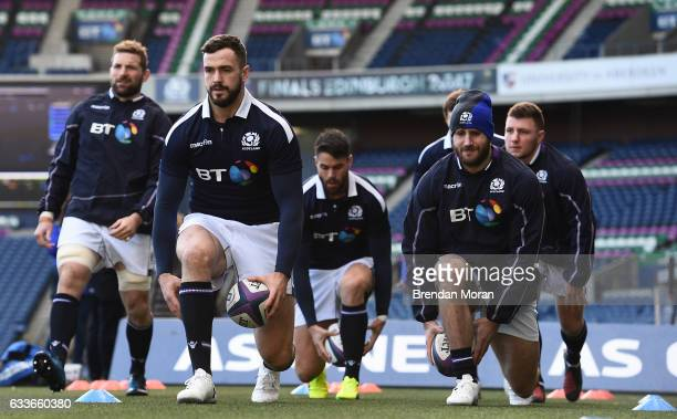 Edinburgh , United Kingdom - 3 February 2017; Alex Dunbar, 2nd from left, and Tommy Seymour of Scotland during their squad captain's run at BT...