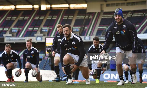 Edinburgh , United Kingdom - 3 February 2017; Alex Dunbar, centre, and Tommy Seymour, right, of Scotland during their squad captain's run at BT...