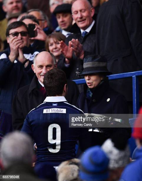 Edinburgh United Kingdom 4 February 2017 Greig Laidlaw of Scotland is presented with the Centenary Quaich by HRH Princess Anne following the RBS Six...